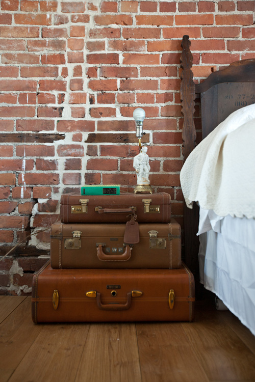 vintage luggage suitcases leather nightstand