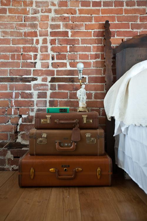 vintage luggage suitcases leather nightstand