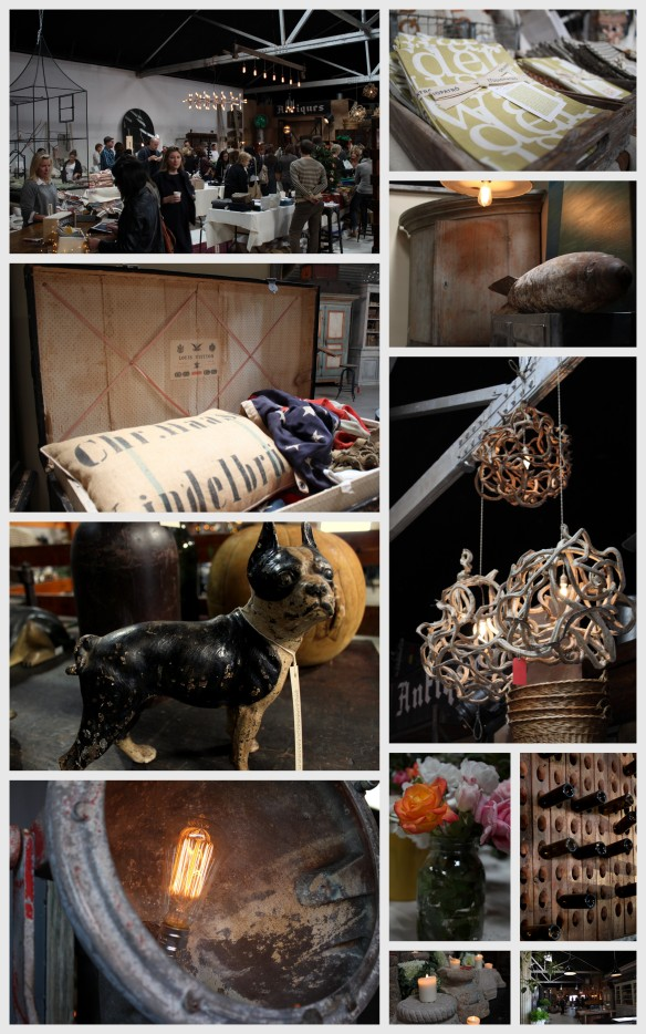 antique market Remodelista Holiday Market boston terrier statue vintage louis vuitton linens industrial lighting
