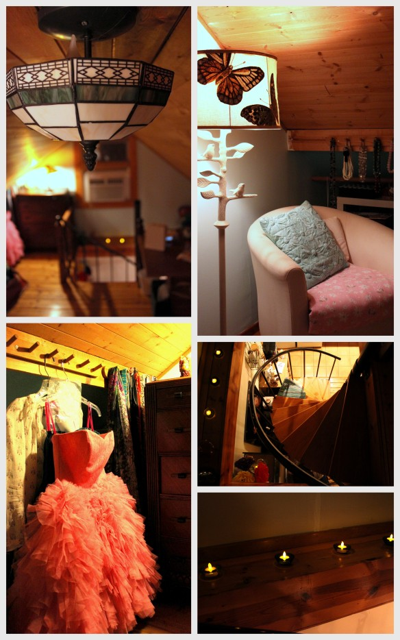 light fixture loft apartment tutu dress tulle spiral staircase flame candles