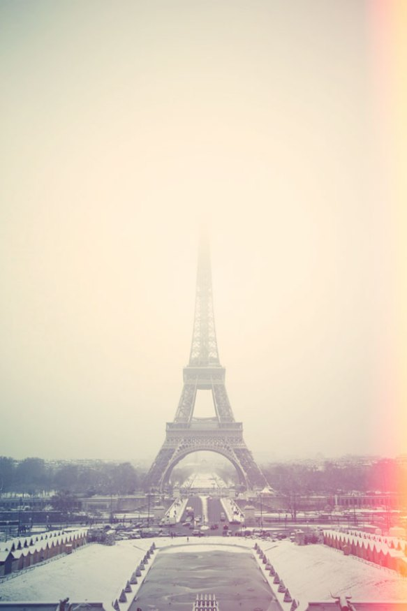 paris winter snow eiffel tower photo