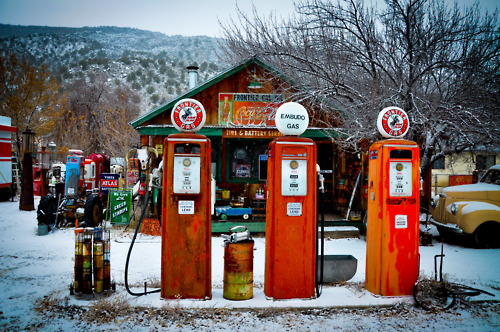 New Mexico winter snow road trip vintage gas station