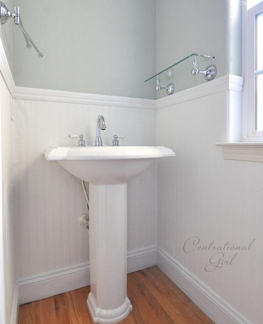 beadboard wallpaper installation bathroom DIY decor design