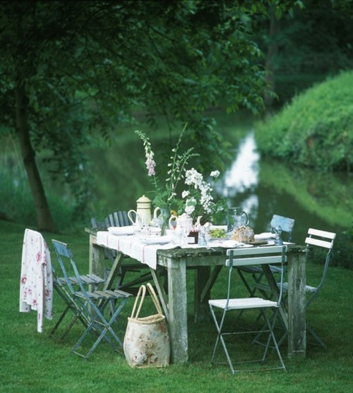country picni river bank shabby chic elegant dinner party