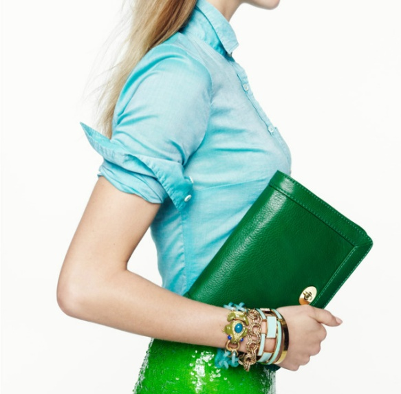jcrew j crew turquoise dress shirt dresshirt green clutch fashion style ideas inspiration spring