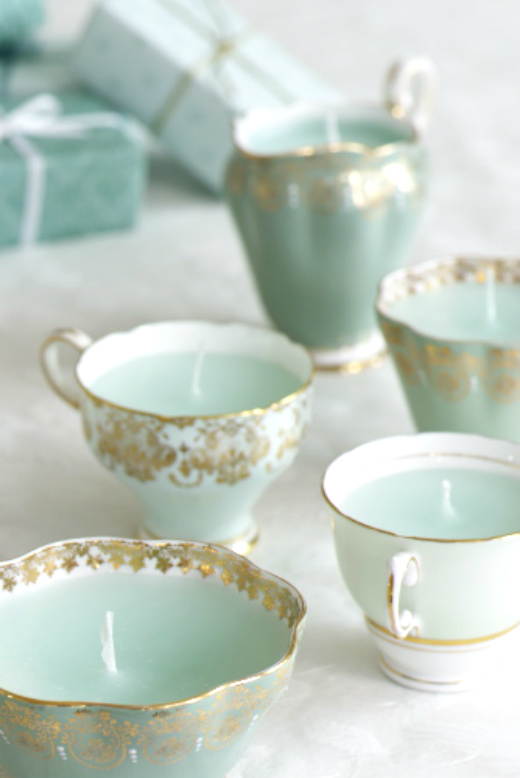 DIY turquoise teacup tea cup candles shabby chic decor ideas design vintage victorian party