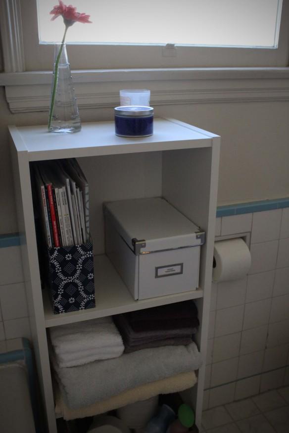 bathroom storage billy bookshelf bookcase shelf guest toiletries towels declutter solution