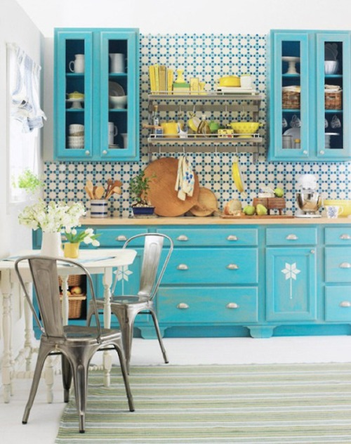 turquoise kitchen design decor ideas color bright happy organized