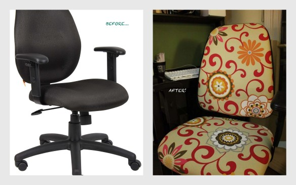 desk office chair reupholster reupholstery reupholstered DIY craft sewing home improvement decor