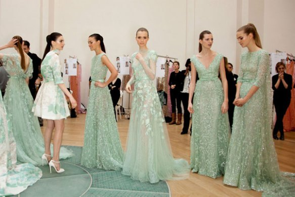turquoise dresses couture glamorous runway models formal fashion elie saab backstage