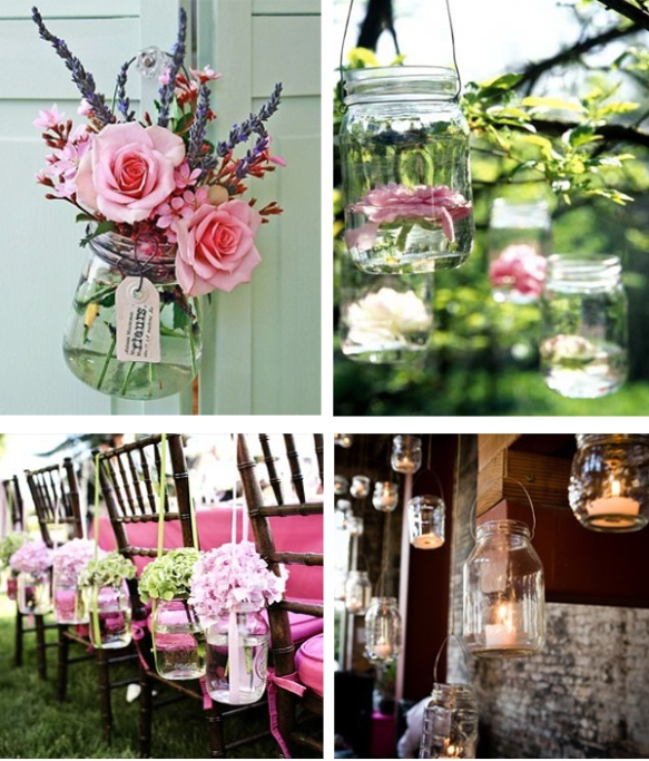 wedding ideas mason jars unique shabby chic lighting candles parties decor homemade DIY