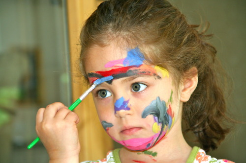 face paint little girl creative bored cute kids children chalkboard wall kitchen DIY home improvement projects crafty