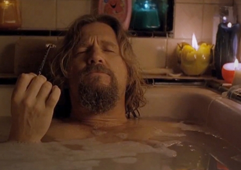 The Big Lebowski, Big Lebowski, The Dude, manly bubble bath, bathtub, bath, relaxing, unplugging, unwinding