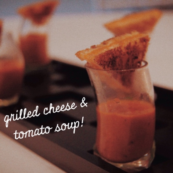 appetizer, hors d'oeuvres, wedding reception, menu, caterer, catering, Provence Catering, Philadelphia, Lochwood Estate, tasting, tomato soup, grilled cheese, presentation, passed, hot, planning, elegant