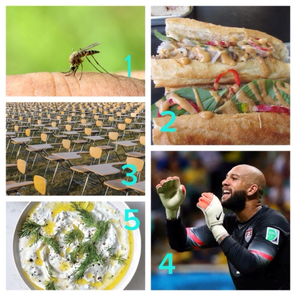 mosquitoes, summer, bahn mi, los angeles, french dip, exercise, effects of sitting, office, health, tim howard, tourette's syndrome, tourette, FIFA, world cup, USA team, goalie, recipes, dip, outdoor, parties