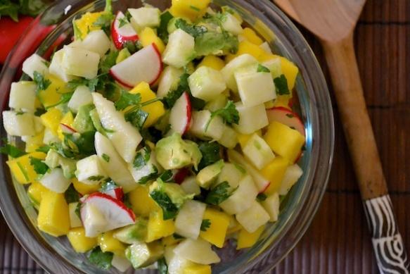 mango jicama avocado salad, warm weather recipe, barbecue, outdoor, mexican, 4th of july